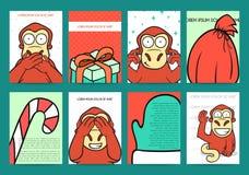 Diseños listos de los días de fiesta del sistema 8 con el mono rojo para 2016 Imágenes de archivo libres de regalías