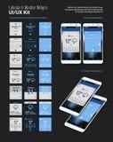 Diseños móviles de los aparatos UI del App del calendario y del tiempo con las maquetas de Smartphone Imágenes de archivo libres de regalías