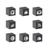 Diseños negros y blancos del cubo plano 3d del botón de cámara, como, messe Imagenes de archivo