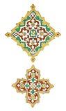 Diseños orientales aislados del adorno pintados en la pared Imagenes de archivo