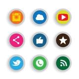 Diseños planos coloridos del botón de cámara, como, pájaro del mensajero, pH Imagenes de archivo