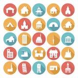 Diseños planos coloridos del icono - edificios Imágenes de archivo libres de regalías