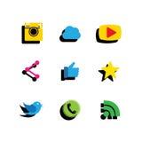 Diseños planos de cámara digital, como símbolo de la mano, pulgares para arriba, mes Fotografía de archivo
