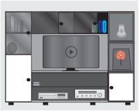 Diseños planos de los muebles para las televisiones, los lectores de cd y los libros libre illustration