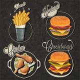 Diseños retros de los alimentos de preparación rápida del estilo del vintage. Imágenes de archivo libres de regalías
