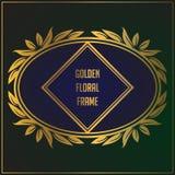 Dise?o de oro de lujo del marco del ornamento floral Dise?o del fondo del marco del oro con el ornamento floral de lujo imágenes de archivo libres de regalías