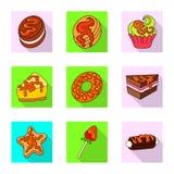 Dise?o del vector de confiter?a y de icono culinario Fije de la confiter?a y del ejemplo com?n colorido del vector stock de ilustración