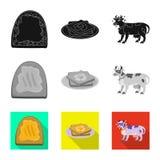 Dise?o del vector de logotipo cremoso y del producto Fije de com?n cremoso y el s?mbolo de granja para la web libre illustration