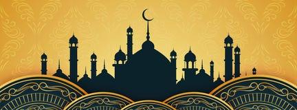 Dise?o hermoso de la bandera de Eid Mubarak del extracto ilustración del vector