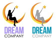 Dise?o ideal del logotipo Muestra del sueño de la plantilla del vector Muchacha que se sienta en la luna y que alcanza para arrib libre illustration