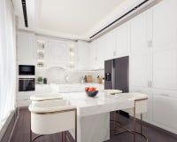 Dise?o interior de la cocina blanca moderna stock de ilustración