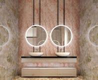 Dise?o interior moderno de vanidad del cuarto de ba?o, todas las paredes hechas de las losas de piedra con los espejos del c?rcul imagen de archivo libre de regalías