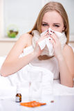 Disease. Portrait of woman suffering from cold in bed Royalty Free Stock Photography