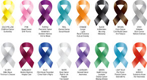 DISEASE CANCER AWERENESS RIBBONS Royalty Free Stock Photos