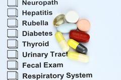 Disease with drugs prescription. Check box on Disease with drugs prescription Stock Photos