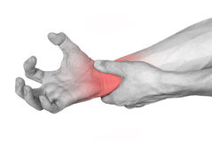 Disease of the hand marked in red Stock Photo