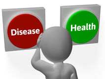 Disease Health Buttons Show Sickness Or Medicine. Disease Health Buttons Showing Sickness Or Medicine Stock Photo