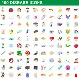 100 disease icons set, cartoon style. 100 disease icons set in cartoon style for any design illustration royalty free illustration
