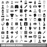 100 disease icons set, simple style. 100 disease icons set in simple style for any design vector illustration Stock Photos