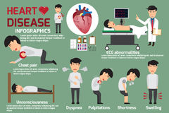 Disease Infographics. Symptoms of heart disease and acute pain p. Ossible heart attack.  Detail of man in symptoms heart disease and prevention. Vector Stock Image
