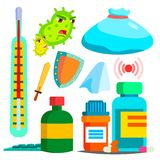 Disease, Medication Vector. Hospital Pharmacy Set. Drug Store. Isolated Flat Cartoon Illustration. Disease, Medication Vector. Hospital Pharmacy Set. Drug Store vector illustration