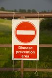 Disease prevention area sign Stock Photography