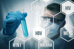 Disease research. Medical research and chemistry looking to cure diseases Stock Photos