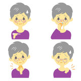 Disease Symptoms 02, old woman. Disease Symptoms 02, fever, sore throat,dripping nose, stiff neck, expressions, old woman Royalty Free Stock Photo