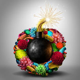 Disease Time Bomb. Medical health risk concept as a group of viruses bacteria and disease cells shaped as a lit bomb as a deadly risk metaphor for human Stock Images