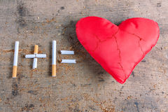Diseased heart and cigarettes Stock Image
