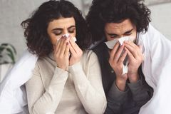 Diseased young couple blowing noses into napkins. At home stock photos