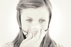 Diseased young woman wearing a mask Stock Photos