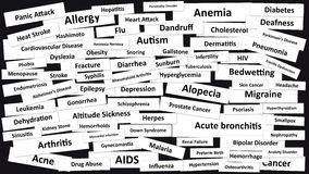 Diseases. Many Diseases on black background. Illustration Stock Image