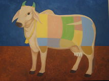 Disected cow painting. Color coded and mapped painted cow for consumption showing cuts of meat on sacred domestic animal Royalty Free Stock Image