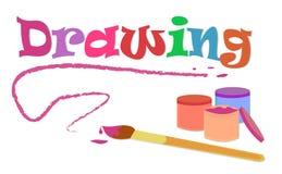 Disegnando con la spazzola ed i colori Fotografia Stock