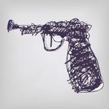 Disegnando con una pistola Fotografie Stock Libere da Diritti