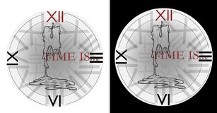 Disegnando per un tatuaggio o una candela della maglietta e un tempo di orologio è immagini stock libere da diritti
