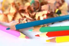 Disegnano a matita i trucioli Fotografia Stock Libera da Diritti