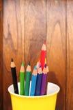 Disegnano a matita il fondo, il fondo di colore, il concetto di istruzione, la scuola 1 Fotografie Stock Libere da Diritti
