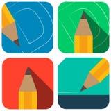 Disegnano a matita il vettore di colore delle icone Fotografia Stock Libera da Diritti