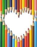 Disegnano a matita la figura del cuore fotografie stock