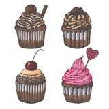 Disegnato con gli indicatori metta di quattro bigné del cioccolato isolati su fondo bianco Fotografie Stock