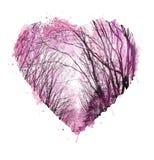 Disegnato a mano astratto Cuore dell'acquerello Priorità bassa del biglietto di S Progettazione del cuore di amore Collage della  Immagini Stock