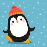 Disegnato a mano del pinguino sveglio che porta cappello rosso Immagine Stock Libera da Diritti