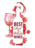 Disegnato a mano delle insegne del vino Fotografie Stock Libere da Diritti