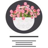 Disegnato a mano piano della merce nel carrello dei tulipani illustrazione vettoriale