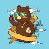 Disegnato a mano raffreddi l'orso con il nastro per la cartolina d'auguri del testo Fotografia Stock Libera da Diritti