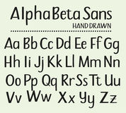 Disegnato a mano senza l'alfabeto dei caratteri tipografici con grazie Fotografia Stock