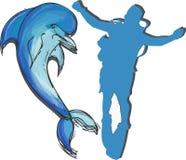 Disegnato a mano stabilito del delfino fotografia stock libera da diritti