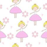 Disegnato a mano sveglio con l'illustrazione senza cuciture del modello di vettore sveglio della bambina Fotografia Stock